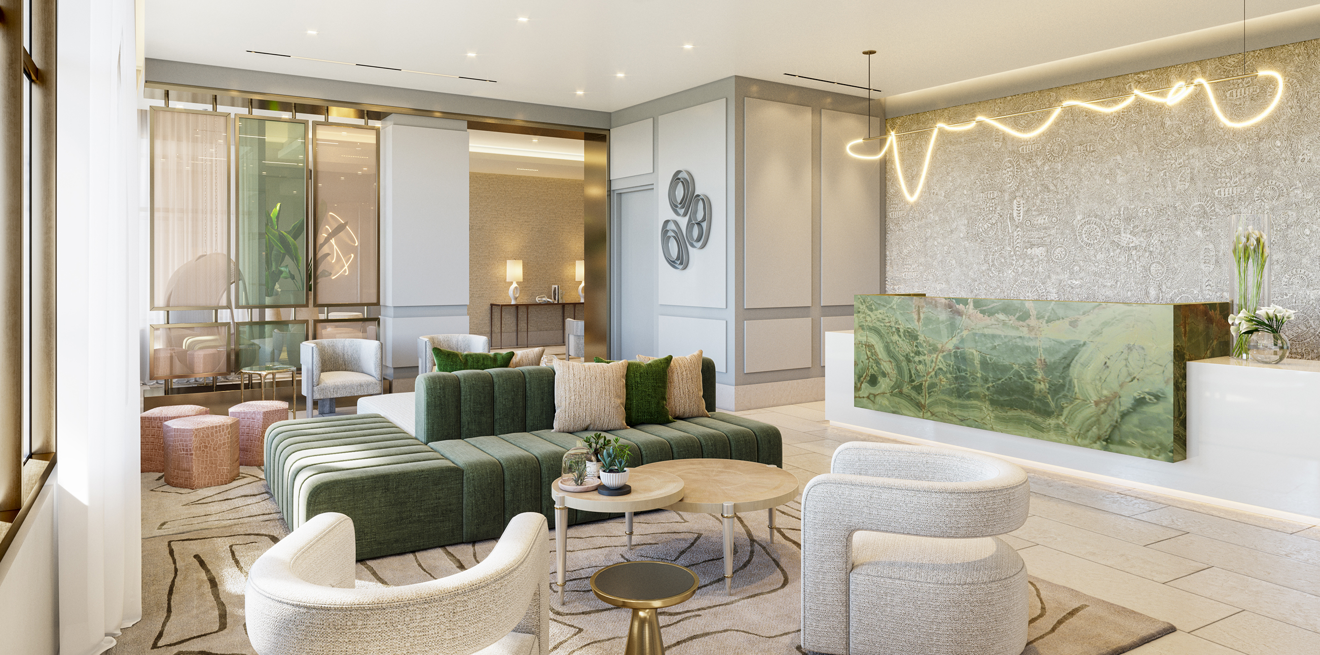 Stylish lobby with midcentury accents