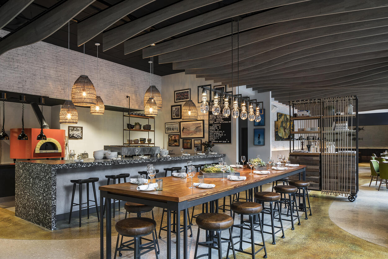 River Oyster Bar Community Table, Oyster Bar and Pizza Oven
