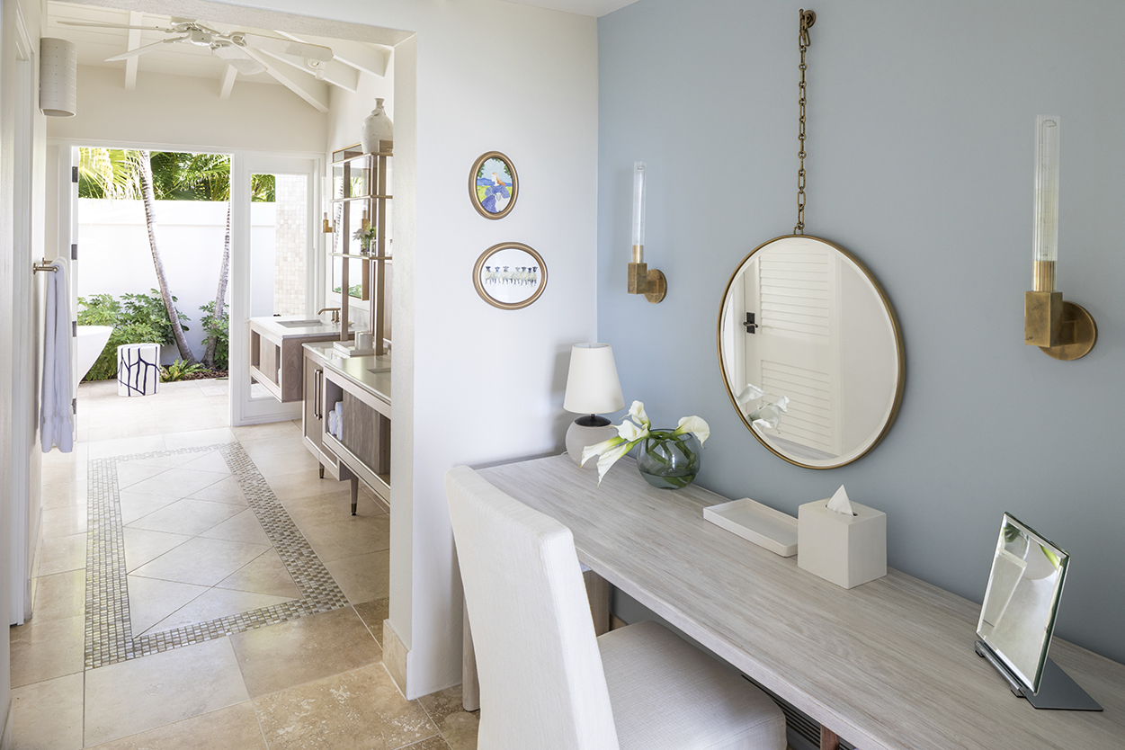 Jumby Bay Pond Bay Suite Dressing Vanity with View to Ensuite Bathroom and Outdoor Tub and Shower