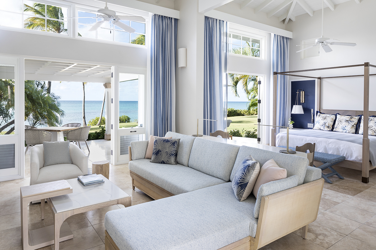 Jumby Bay Pond Bay Suite Living Room Bedroom and view of the Sea