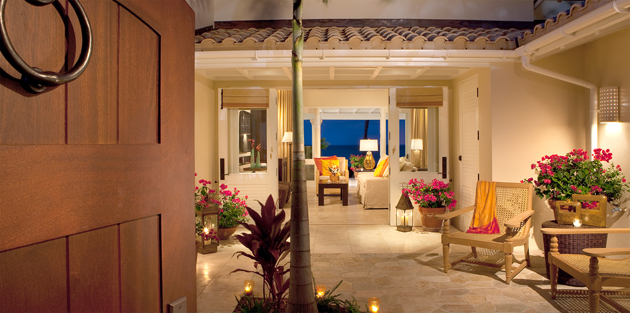 Lounging area of a room at Jumby Bay Resort, Antigua