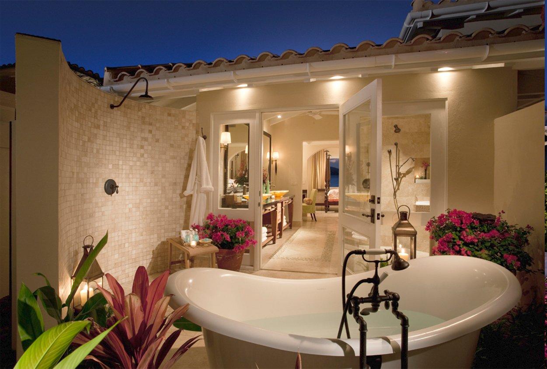 Outdoor bathtub at Jumby Bay Resort, Antigua