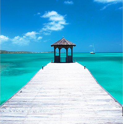 Pier on the ocean at Jumby Bay Resort in Antigua