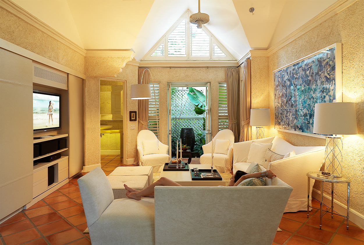 Private seating area with TV at Roaring Pavilion, Jamaica