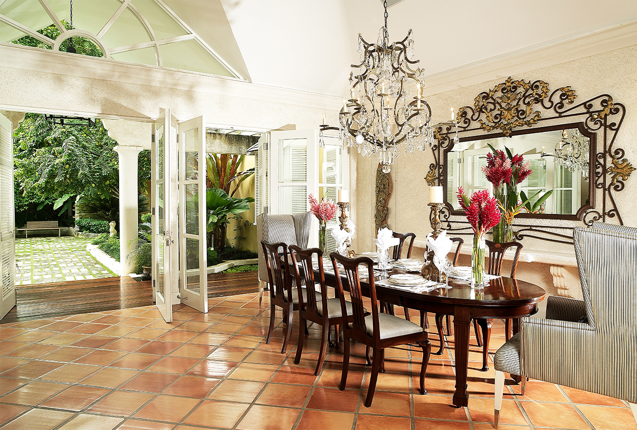 Dining area with an exit to outside at Roaring Pavilion, Jamaica