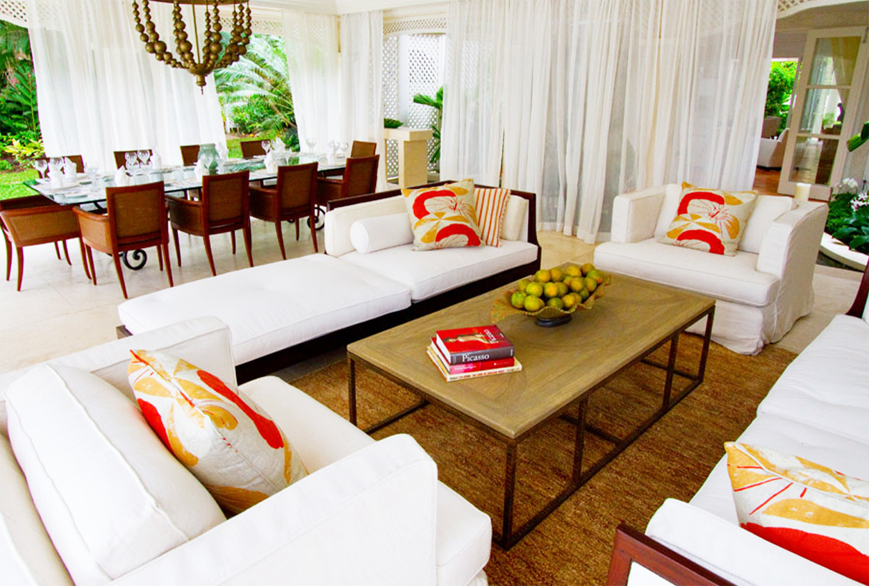 Outdoor seating and dining areas at Roaring Pavilion, Jamaica