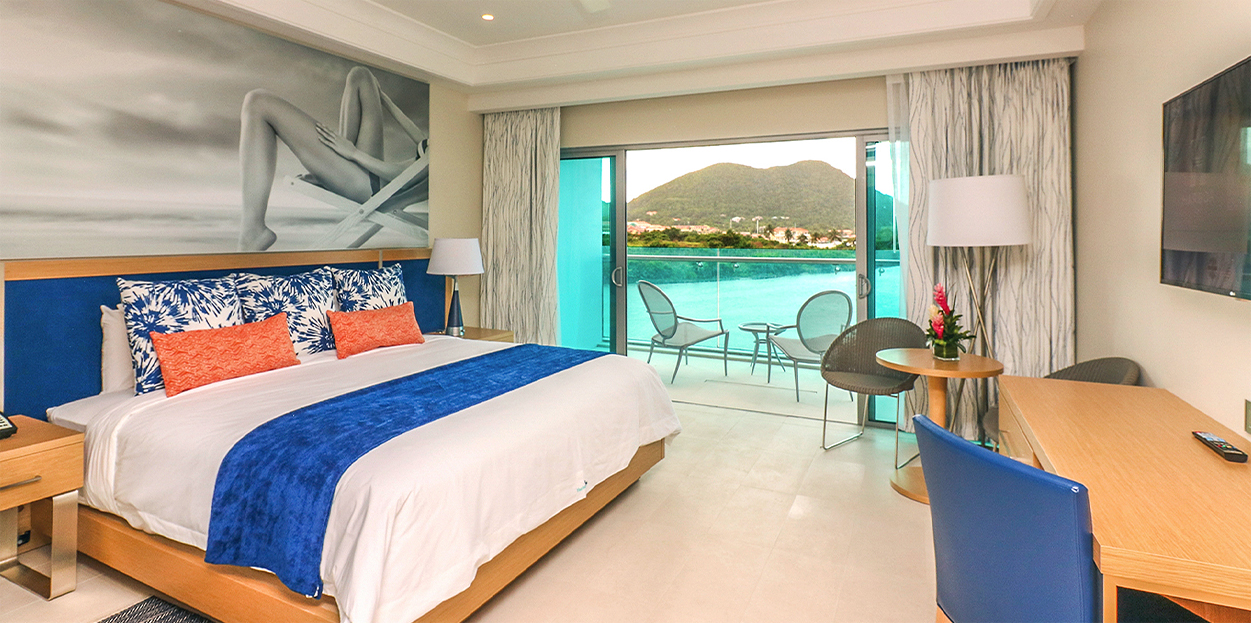 Bedroom with private balcony at The Harbor Club