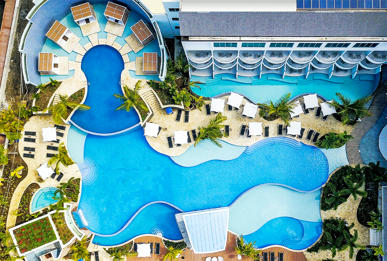 Overhead view of the pools at The Harbor Club