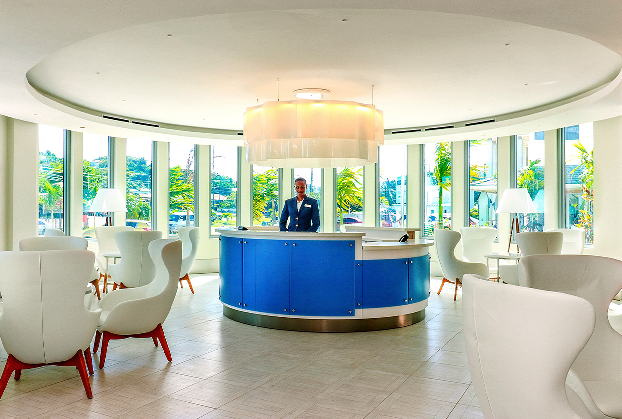 Concierge and seating at The Harbor Club