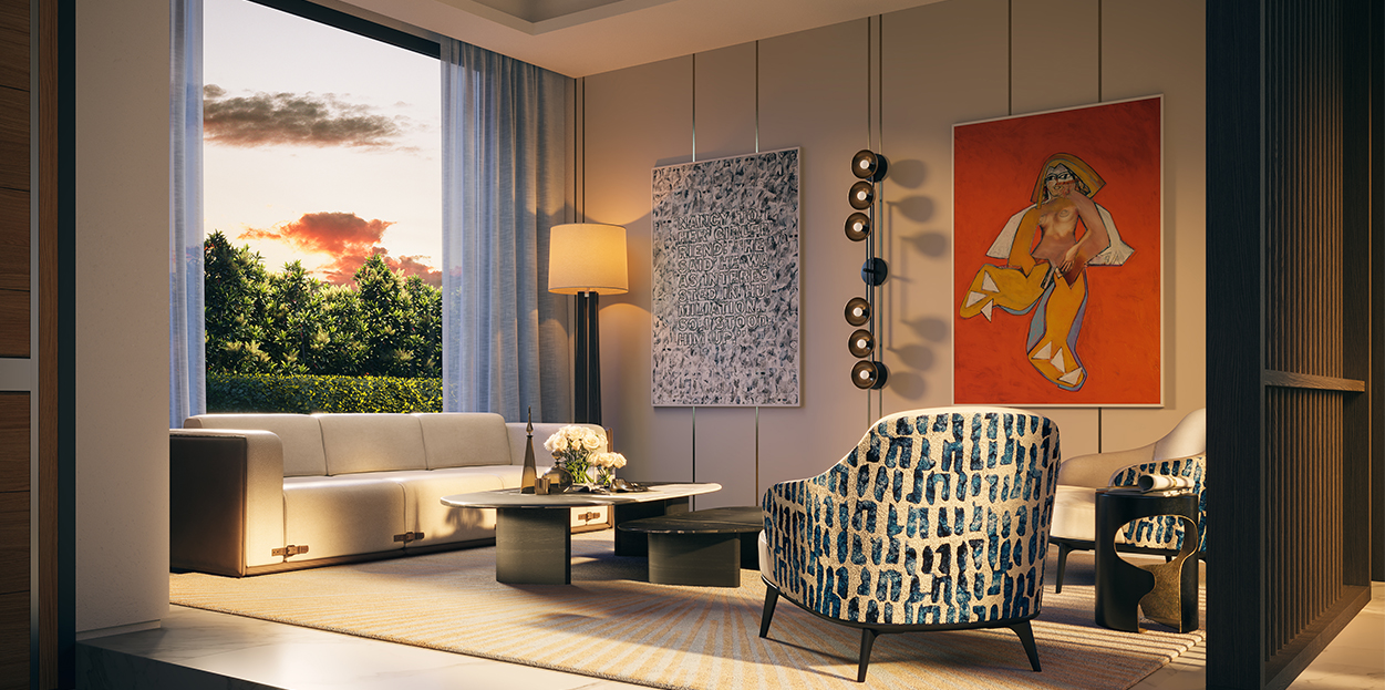 Residential Living Room on Miami Beach by Studio IDC