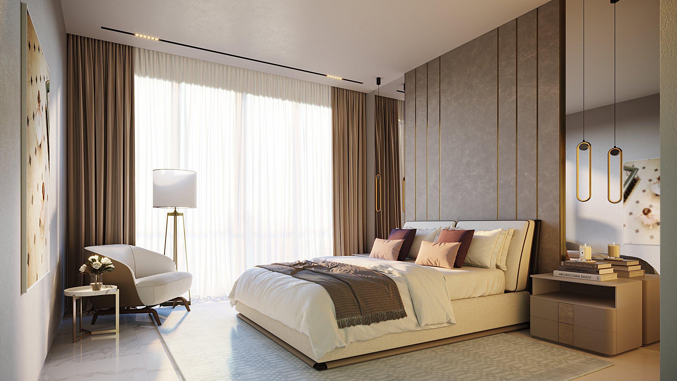 Master Bedroom Miami Beach Interiors by Studio IDC