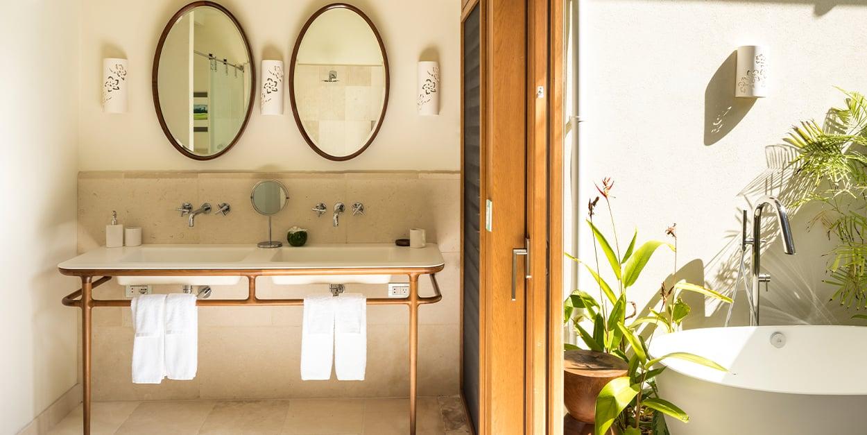 Bathroom Double vanity with outdoor bath tub