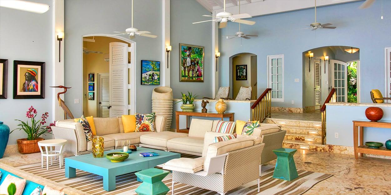 Living room of Blue Belle Villa in Jumby Bay