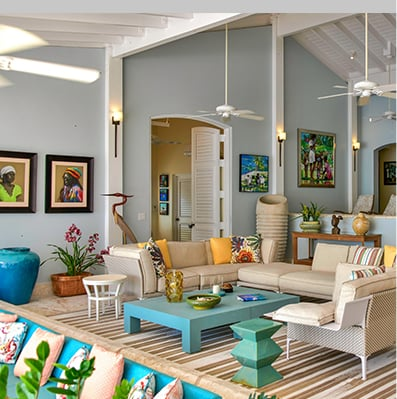 Living room of Jumby Bay Blue Belle Villa
