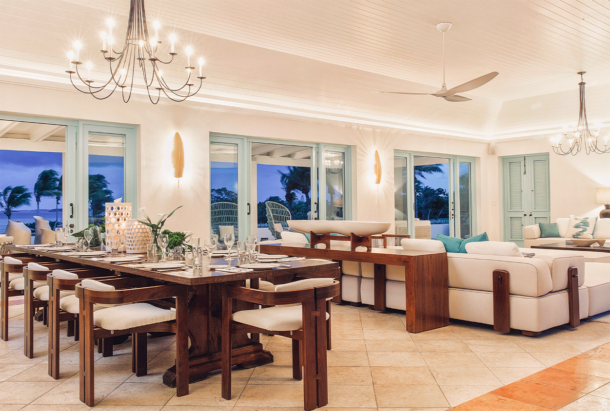 Jumby Bay Evangeline Living and Dining Areas