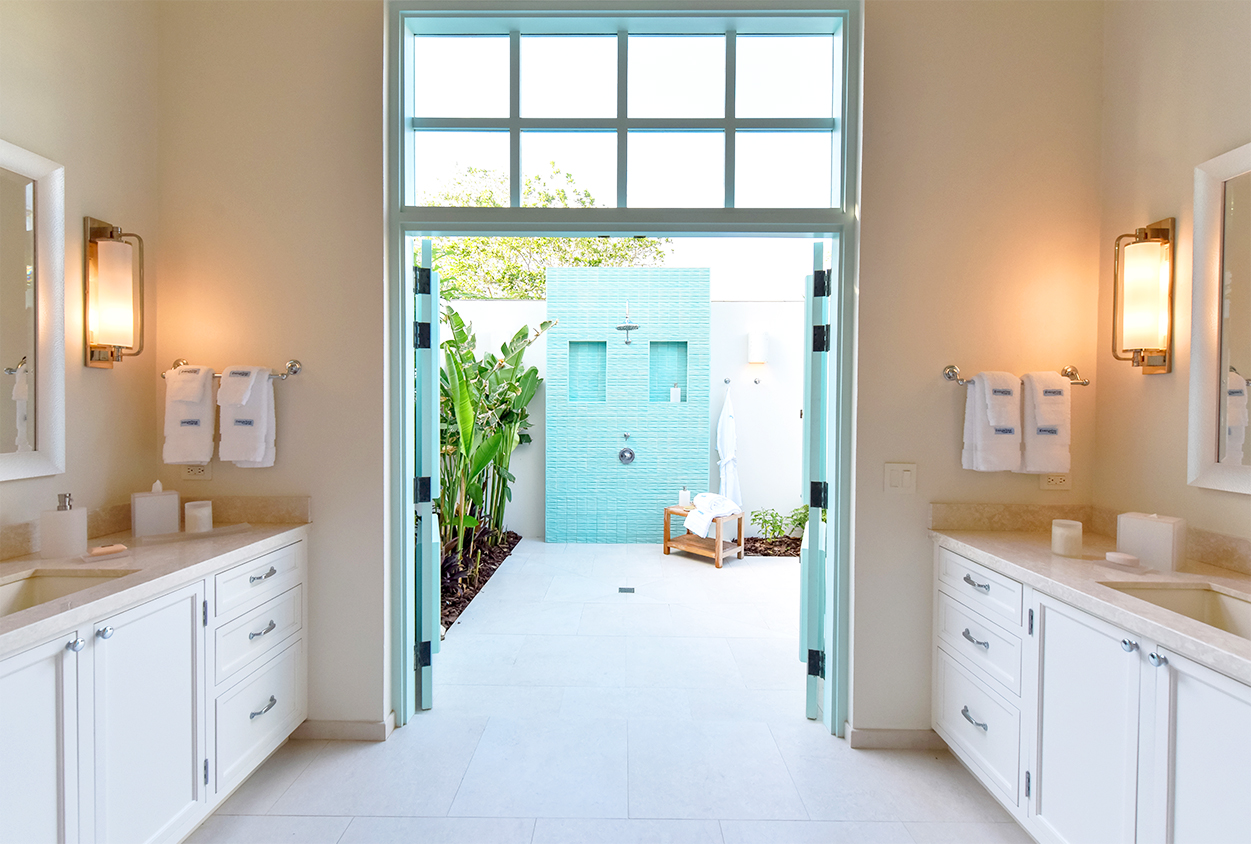 Bathroom with an outdoor shower in Private Estate Home in Jumby Bay