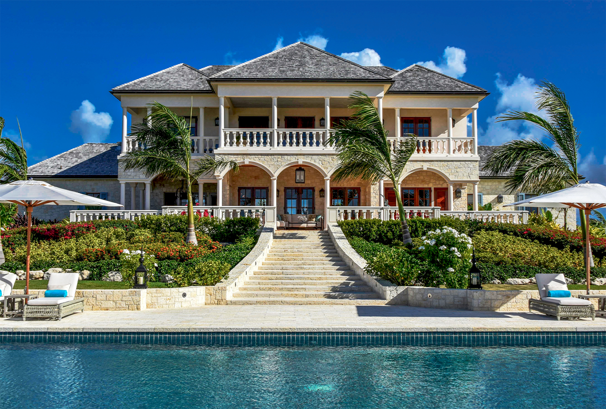Back view of Jumby Bay private estate from the pool
