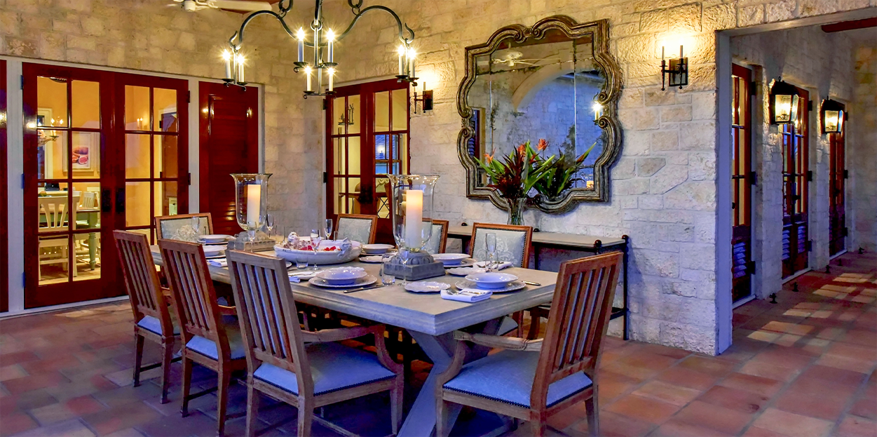 Dining area for Jumby Bay private estate