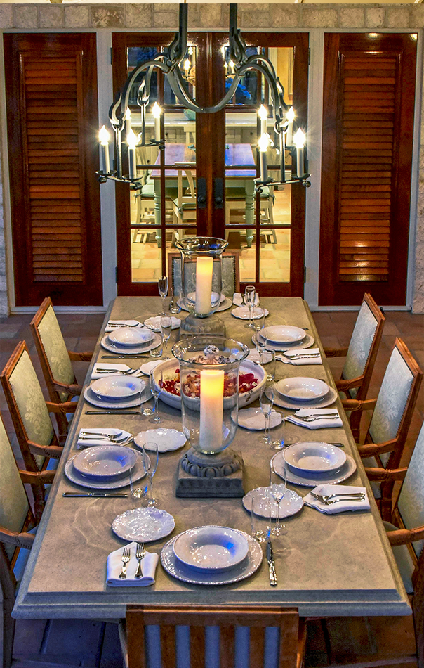 Dining table at Jumby Bay private estate