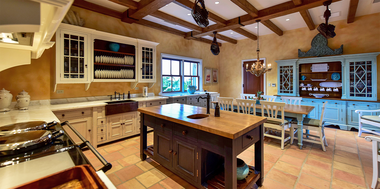 Kitchen in Jumby Bay private estate