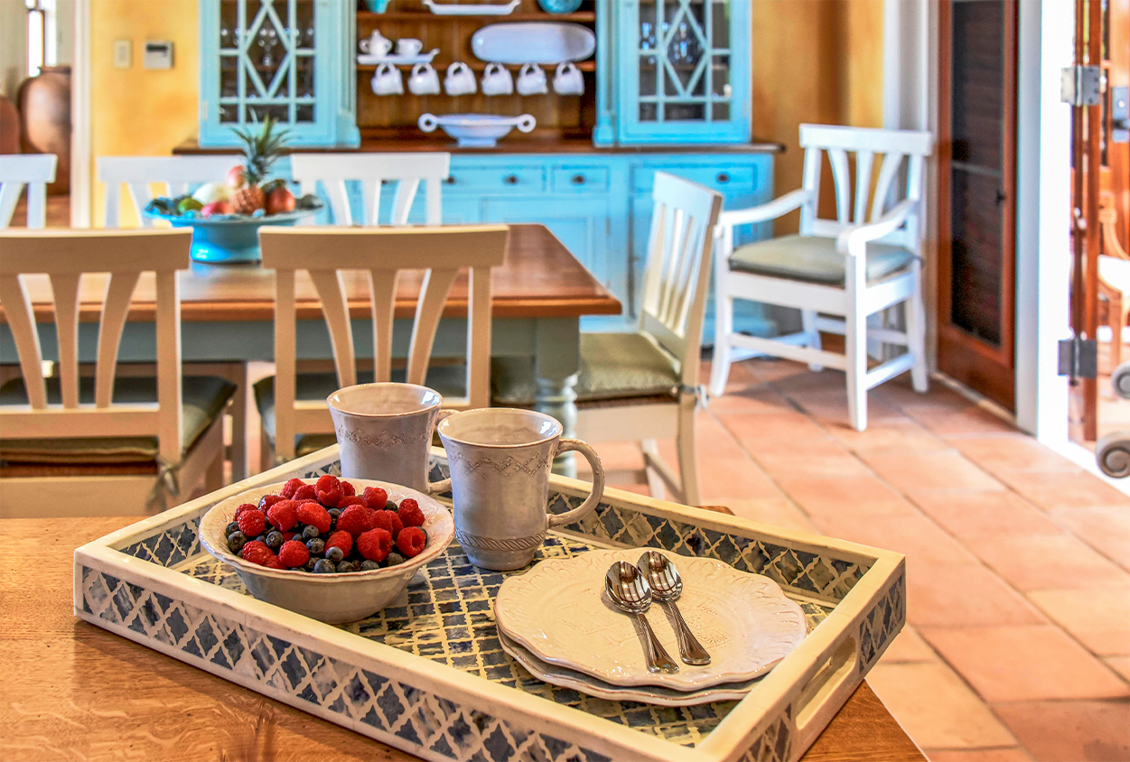 Serving tray in dining area at Jumby Bay private estate