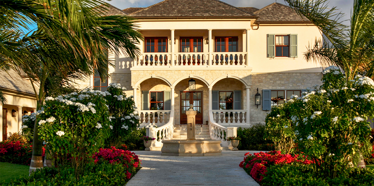 Front entrance of Jumby Bay private estate home