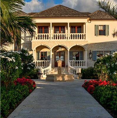 Front entrance of Jumby Bay Private Estate
