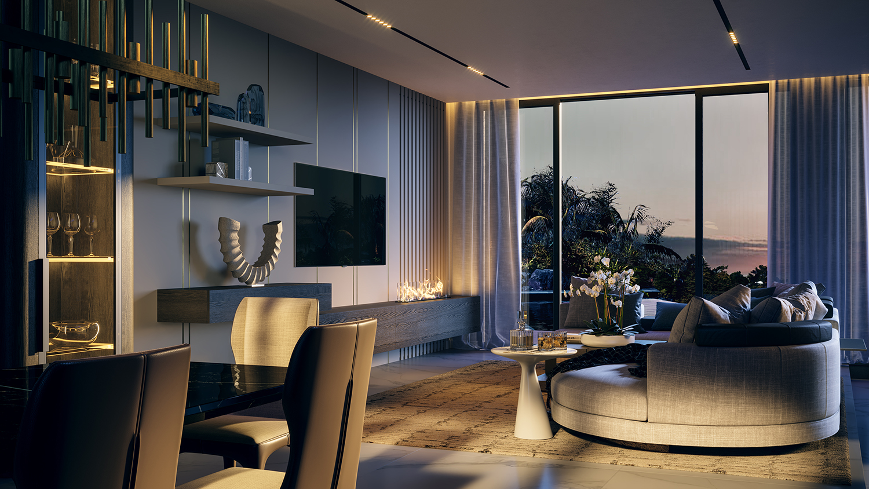 Living Room Interiors Miami Beach Residence by Studio IDC